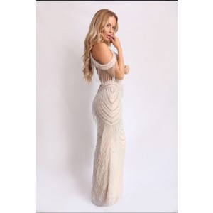 Beige Cocktail Gown